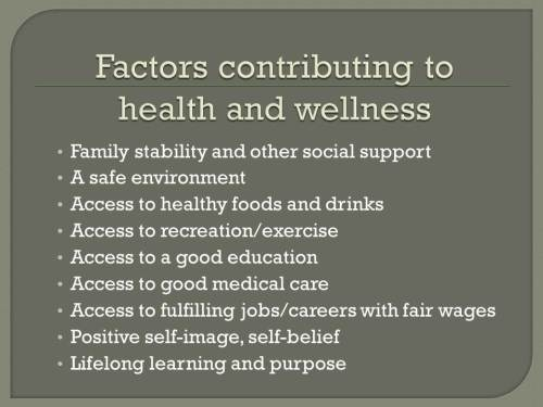 29.2.2.Factors contributing to health and wellness