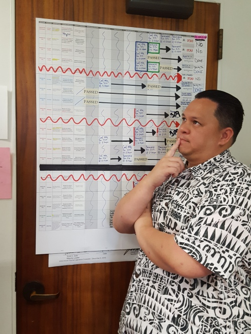 Sheldon Galdiera was the Committee Clerk in Rep. Takayama's office. He devised this attaractive and useful chart for navigating the legislative gauntlet.